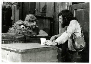 Carroll Spinney and Jim Henson on the set of Sesame Street