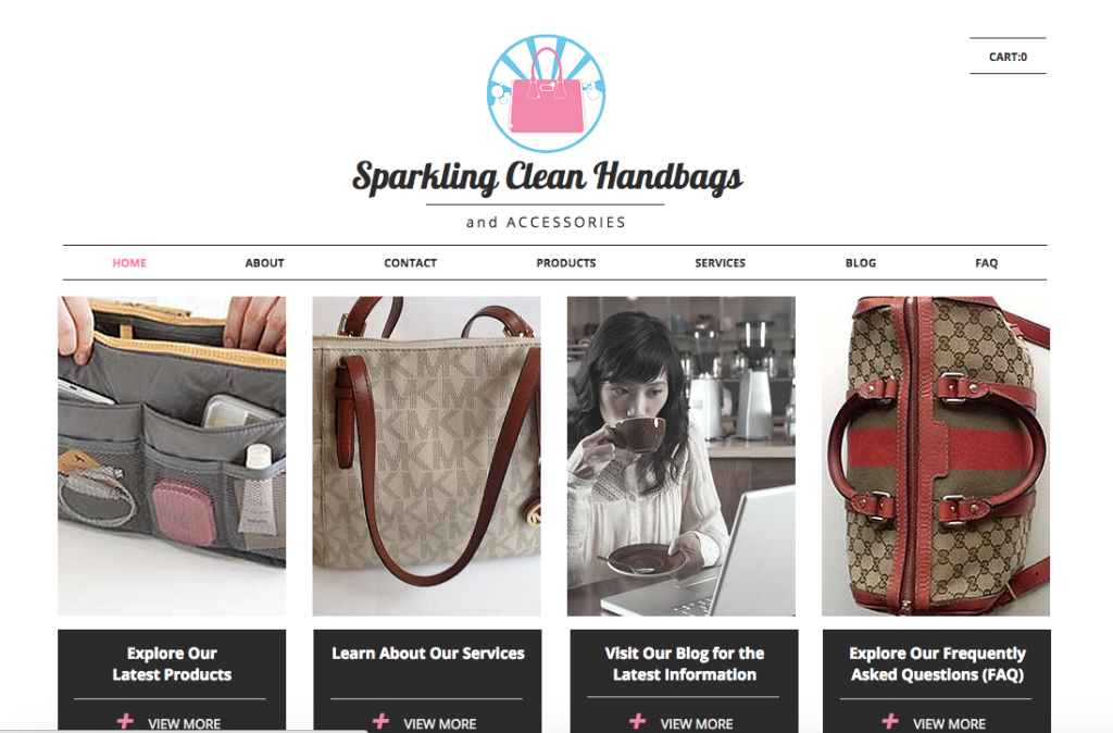 Sparkling Clean Handbags: Landing Page