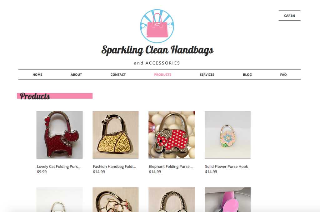 Sparkling Clean Handbags: Product Page
